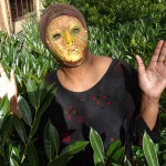 Dorrele with mask face in the bushes